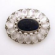 Arts & Crafts German Stuber & Kay 800 Silver Lapis Pin