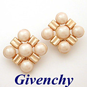 Givenchy Big Faux Pearl & Gold Tone Earrings
