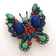 Juliana D&E Dramatic Butterfly Pin Faux Lapis Jade & Turquoise Cabochons