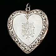 Large Heavy Sterling Victorian Style Heart Pendant