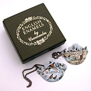Enameled Bottle Tickets by Crummles Whiskey & Brandy Tags Labels