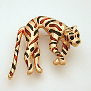 Ciner Spotted Leopard Pin, Gold Tone with Brown and Black Enamel Spots