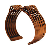 Renoir Copper Bracelet, Mid-Century Jewelry, Architectural Suspension Bridge Cuff Bracelet