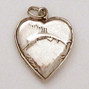 1940's Sailfish Sterling Puffy Heart Charm