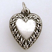 1940's Sterling Puffy Heart Charm Cyclamen or Fleur de Lis