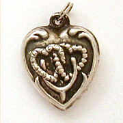 1940's Lucky Sterling Puffy Heart Charm Double Hearts & Good Luck Wishbone