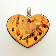 Large Carved Amber Heart Sterling Pendant