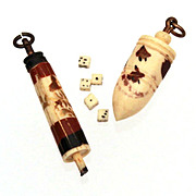 Miniature Carved Bone Dice Die in Umbrella Parasol & Plumb Bob Toy Top Box Charms Fobs