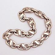 Christian Dior Biker Style Chunky Silver Tone Chain Necklace