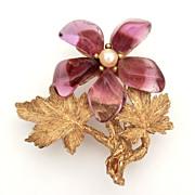 Swoboda Amethyst Cultured Pearl Gemstone Flower Pin