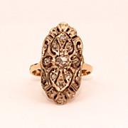 Antique Rose Cut Diamonds 18k & Platinum Ring, Size 5 1/2