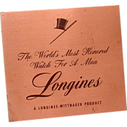 Longines Wittnauer Watch Display Sign Etched Copper
