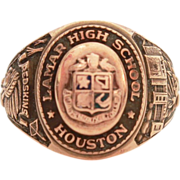 10k Lamar High School Houston Texas 10k Gold 1954 Class Ring Woman's Size 6 Honor Society and