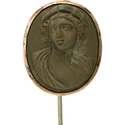 Antique Lava Cameo Stickpin - High Relief Carving Classical Bust - Victorian Stick Pin