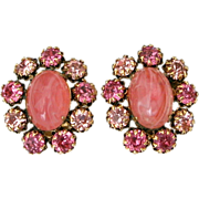 Signed Schreiner New York Swirled Pink Glass Cabochon & PInk Rhinestone Clip On Earrings - Bub