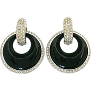 Kenneth Jay Lane 2 in 1 Earrings Pave Rhinestone Clips Black Lucite Dangles - Vintage KJL