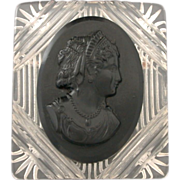Early Plastic Black Cameo on Carved Lucite Backing Pin - Vintage Brooch