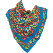 LIBERTY of LONDON Silk Scarf - Flowers in Hot Pink, Pea Green, Yellow, Orange on Bright ...
