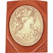 Carved Butterscotch Bakelite & Celluloid Cameo Pin - Vintage Early Plastic Brooch