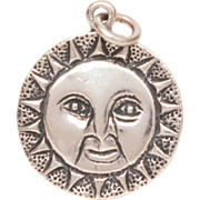 Vintage Sun Face Sterling Charm - Silver Bracelet Charm with Radiating Sunrays