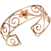 SALE PENDING Krementz Bracelet 2 Tone Gold Filled Cuff in Yellow Gold & Rose Gold - Lacy Openw