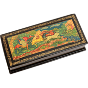 Soviet Era Russian Lacquer Box Deer Hunt Scene from Mstera, Russia - Painting of Hunters on Ho