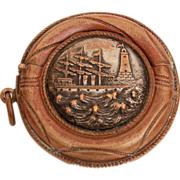 Antique Vesta Match Safe Round Novelty Life Preserver Ocean Scene Stormy Seas with Sailing Shi