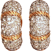 Signed Joseph Mazer Colorless Pave Rhinestone Huggie Style Clip Earrings with Twisted Gold Ton