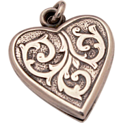 Gothic Design Sterling Puffy Heart Locket Charm Pendant for a Romantic Valentine's Day