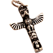 Native American Inuit Totem Pole Vintage Sterling Charm with Eagle and Beaver