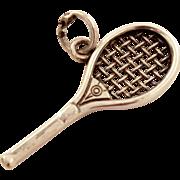 Vintage Tennis Racket Charm or Pendant Signed JMF - Detailed and Sturdy Estate Jewel