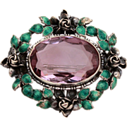 German Sterling Enamel Pin with Pale Amethyst Color Stone - Roses and Green Leaves - Germany
