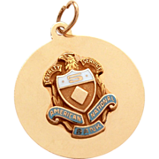 14k Gold American National Bank 5 Year Service Pin Style Charm or Pendant Award Blue & White E