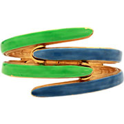 Original by Robert Retro Blue & Green Enamel Clamper Bracelet