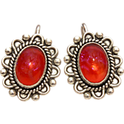 Dragons Breath Art Glass & Sterling Silver Vintage Clip Back Earrings