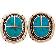 Turquoise Inlay Sterling Pierced Earrings Southwest Native American Indian Jewelry, Bold Graph
