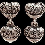 LAGOS CAVIAR Sterling Silver Heart of Texas Double Heart Dangle Earrings