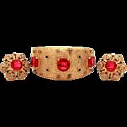 Joseph Mazer Maharanee Gold Tone Glass Ruby Sapphire & Diamond Rhinestones Moghul Style Ba