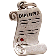 Sterling Graduation Diploma Bracelet Charm with Red Enamel Seal for High School College Gradua