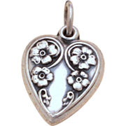 1940's Sterling Puffy Heart Charm Forget-Me-Not Flowers on Curly Cues Vintage Bracelet Charm