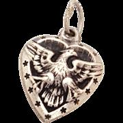 WWII Sweetheart Sterling Puffy Heart Bracelet Charm Patriotic American Eagle & Stars Vinta