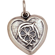 1940's Lucky Sterling Puffy Heart Charm Good Luck 4 Leaf Clover, Horseshoe, Wishbone Vintage B