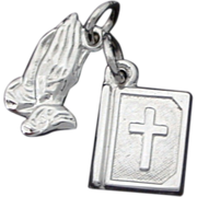 Sterling Christian Religious Bracelet Charms Holy Bible & Praying Prayer Hands