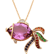 14k Gold Jeweled Fish Necklace Pendant with Amethyst, Diamond, Emerald, Sapphire, Ruby on 18""