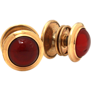 Gold Filled Snap On Cufflinks by Pitman & Keeler Gold Filled, Red Glass Cabochon Jewels