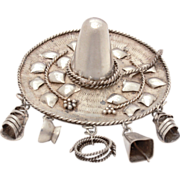 Mexican Sombrero Sterling Hat Pin Charm with Dangles Sandals, Cow Bell, Rope Lasso - Large Vin
