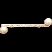 Tiny Diamonds & Cultured Pearls 10k White Gold Bar Pin