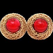 Schiaparelli Red Cabochon Gold Tone Earrings