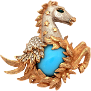 KJL Pegasus Pin Robins Egg Blue Glass Cabochon, Pave Chatons, Kenneth Jay Lane, Silver & Gold