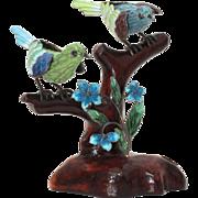 "Chinese Sterling Enamel Bird Figurine, Birds on Wood Branch, 4.5"" Sculpture"
